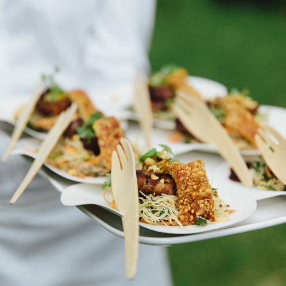 / Crispy Bangalow pork belly with rice noodle and snow pea salad