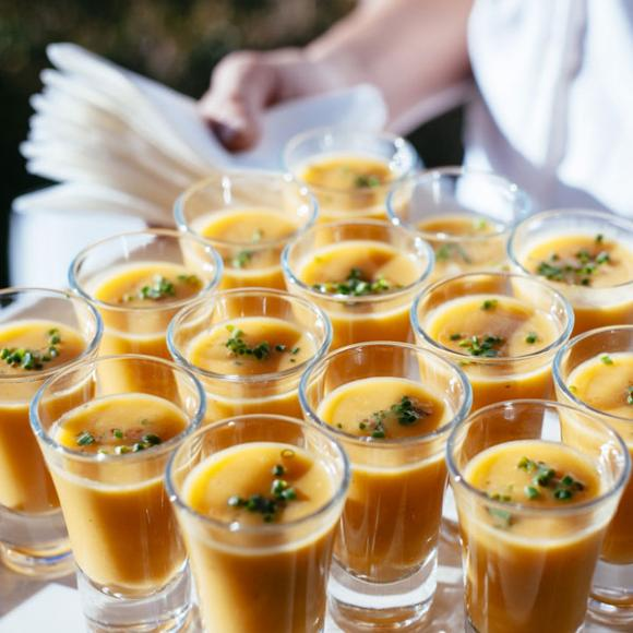 / Sweet potato soup shooters with crumbled maple bacon